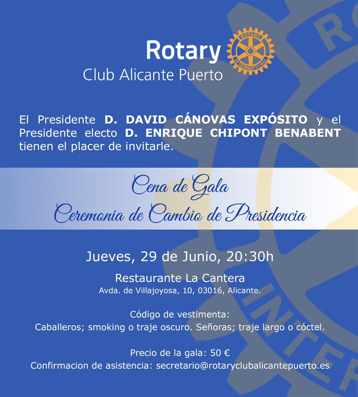 Invitación Cambio de Presidencia - Rotary Club Alicante Puerto
